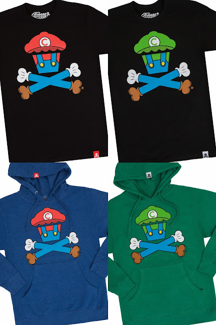 "Super Mario Bros. ""Plumber Crossbones"" Mario & Luigi T-Shirts by Johnny Cupcakes"