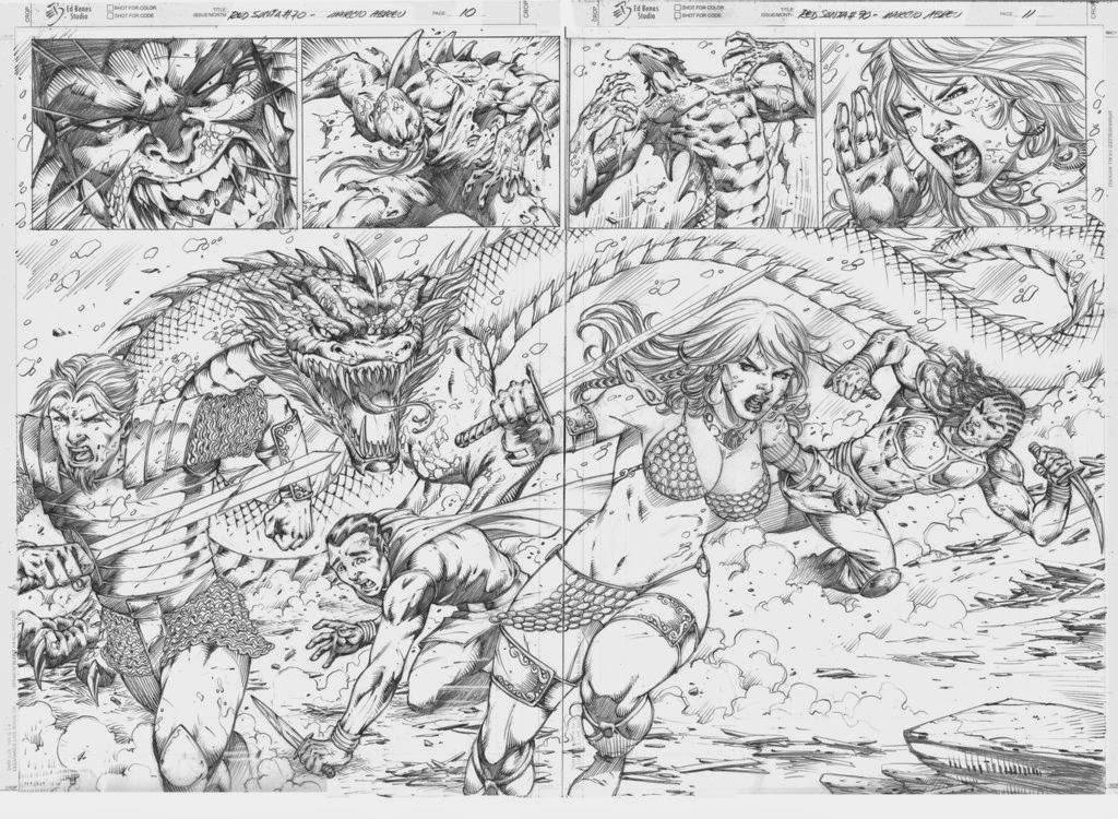 Red Sonja 70 Pg 10 - 11 by  Pencil: Marcio Abreu