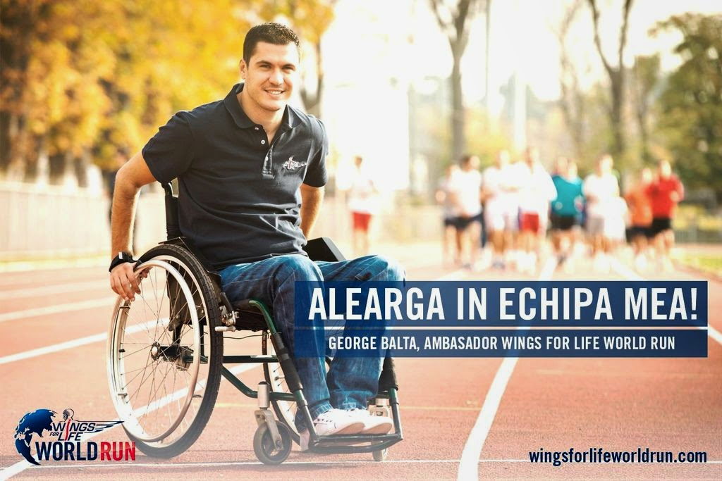 Alatura-te unei echipe la Wings for Life World Run. George Balta