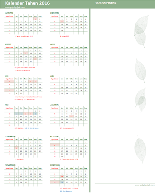 kalender 2016, kalender tahun 2016