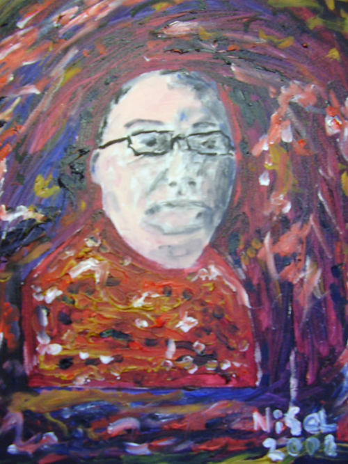 head with glasses, red background, self portrait, artist nigel goodwin