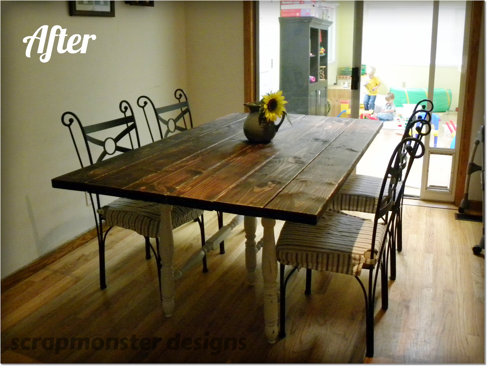 Scrapmonster rustic dining table make over for Rustic dining room table