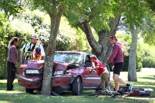 Police, fire service and St John Ambulance attended a car vs tree and a motor scooter, accident on Orchard Rd, near the intersection with Takapu Rd, Hastings. photograph