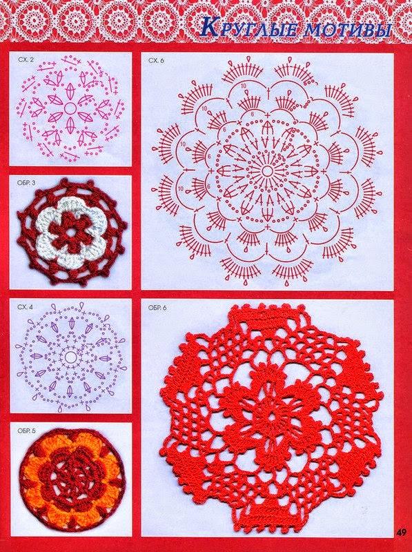 Patrones de carpetas y apliques circulares para tejer con ganchillo ...