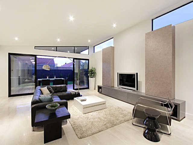 Picture of black and white living room furniture in the small contemporary home in Australia
