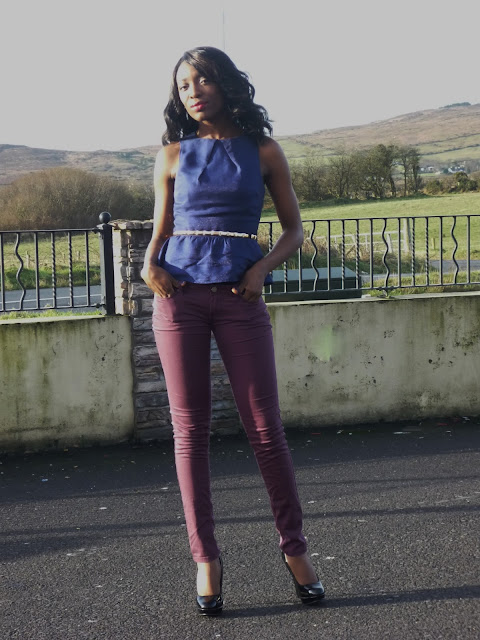 peplum top and jeans