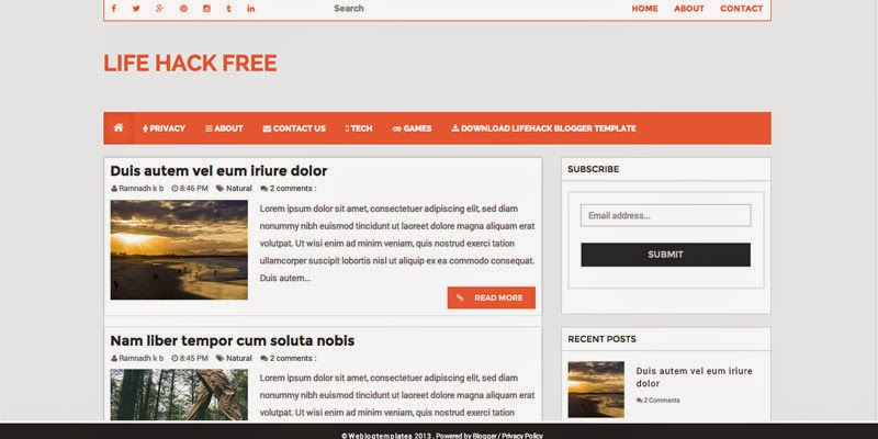 LifeHack Free responsive blogger templates