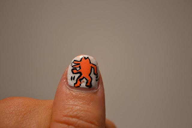 Keith Haring Dog Nail Art by Elins Nails