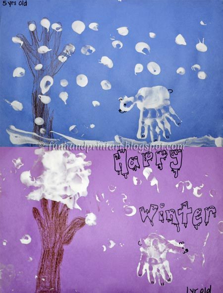 Handprint Winter Tree, Handprint Polar Bear, Puffy Paint