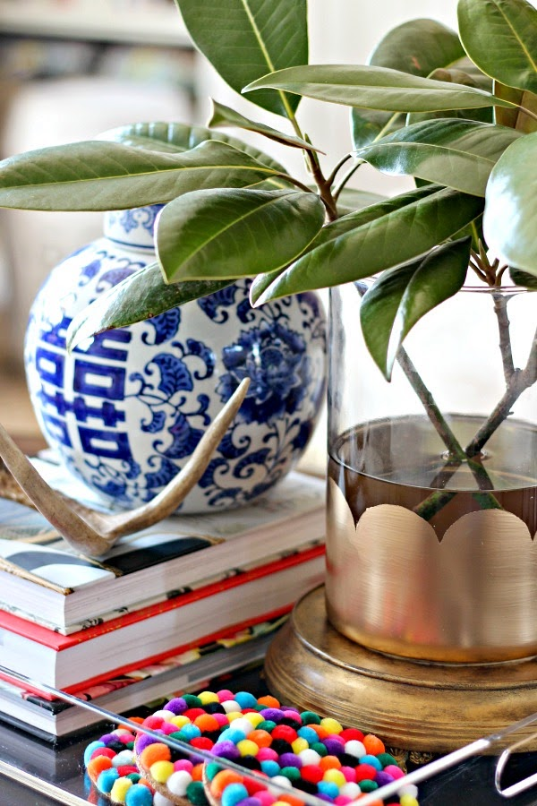 Diy Scalloped Gold Leaf Vase Dimples And Tangles