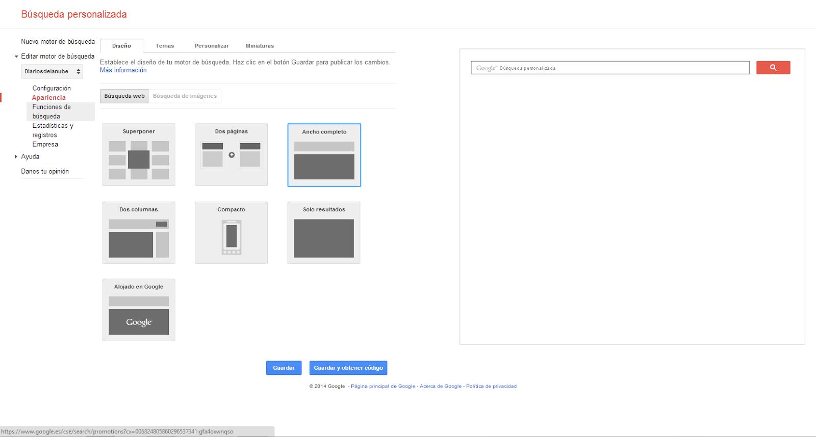 Diseño de búsqueda personalizada de Google.