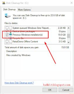 pilih previos windows installation di disk cleanup