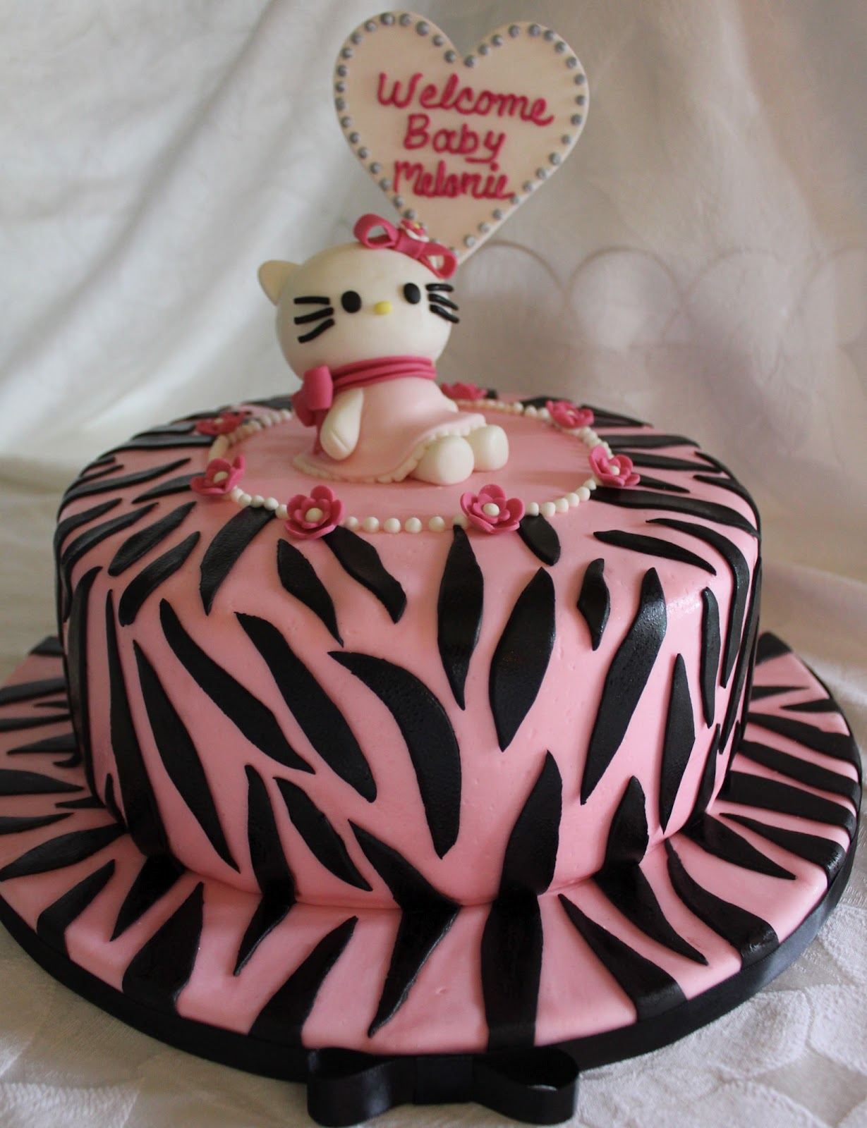 I Made This Cake For A Hello Kitty Themed Baby Shower. I Absolutely Enjoyed  Every Design Element....the Flowers, Colors, Bows, Heart. : )