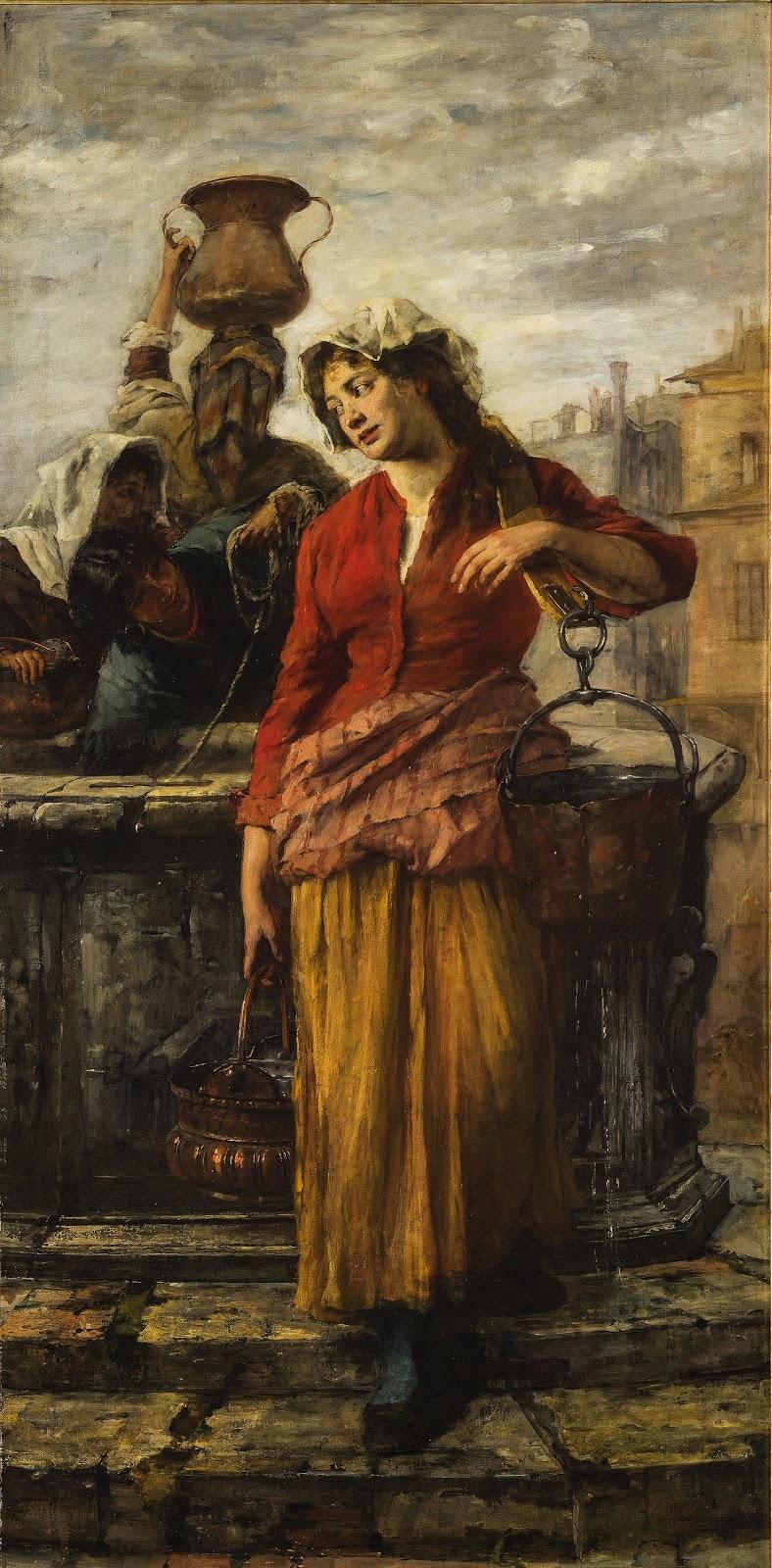 Alessandro Milesi Fanciulle  alla  fonte  a  Venezia