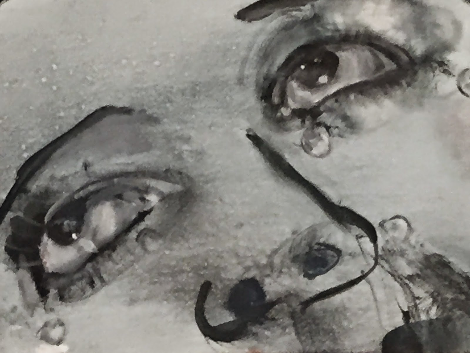 Painting of a woman's eyes and her tears