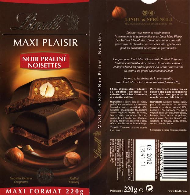 tablette de chocolat noir gourmand lindt maxi plaisir praliné noisettes 2