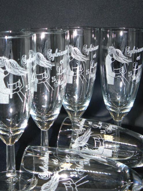 gravure sur verre verre grav flute grav e mariage bapteme cadeau parrain marraine photo
