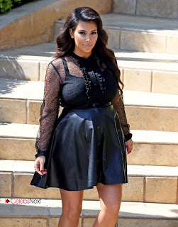 Kim Kardashian Pictures in Leather Skirt Leaving Her House in Beverly Hills 0005