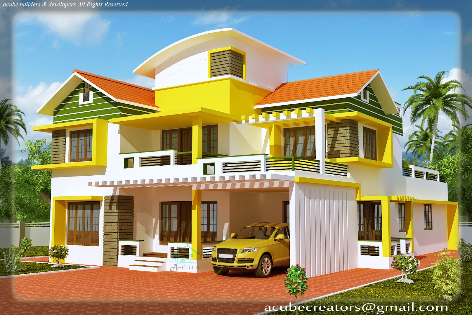 Duplex house elevation 2700 sq ft plan 114 for Kerala house interior painting photos