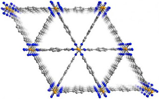 This view of the molecular structure of the MOF shows the triangular channels that run through the material. The walls of these channels trap the lower-octane components of gas while allowing the higher-octane molecules to pass through, potentially providing a more efficient and cost effective way to refine high-octane gasoline. Credit: Science