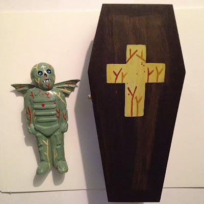 Swamp Zombie Bones with Wings Vinyl Figure with custom Coffin Packaging by Mike Egan