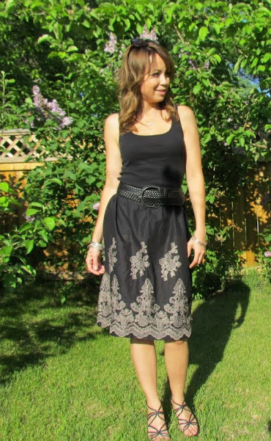 summer skirt, skirt, embroidered skirt, border hem, skirt with border, etcetorize