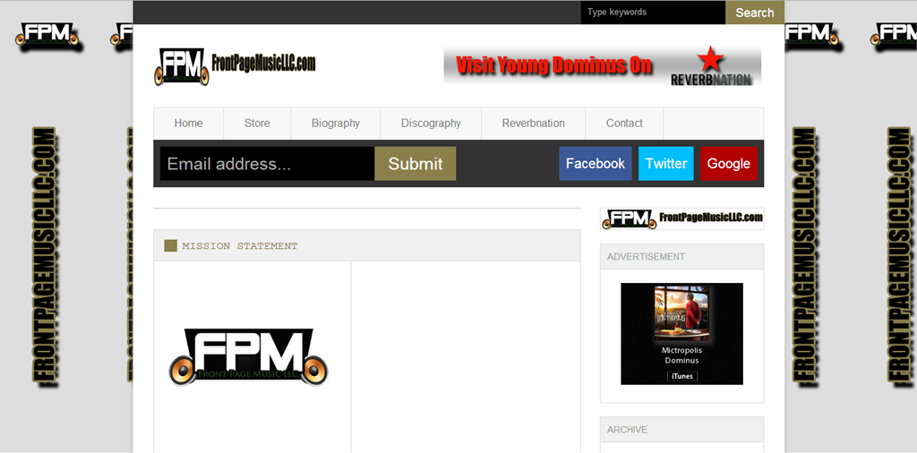 FrontPageMusicLLC website Young Dominus image