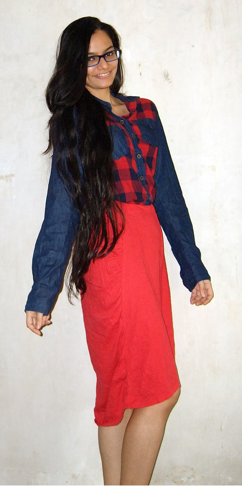 denim patch shirt, how to wear tartan in india, how to style a plaid shirt, red dipped hem skirt, skirts in mumbai, how to wear skirts, streetstyle