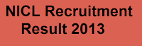 NICL Recruitment result 2013