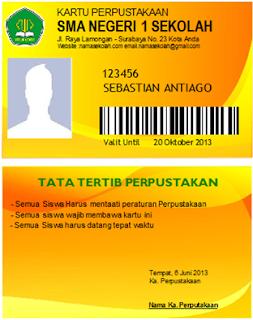 Contoh Kartu Anggota Perpustakaan