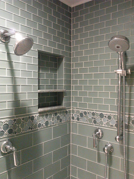 Tile niche with granite shelves