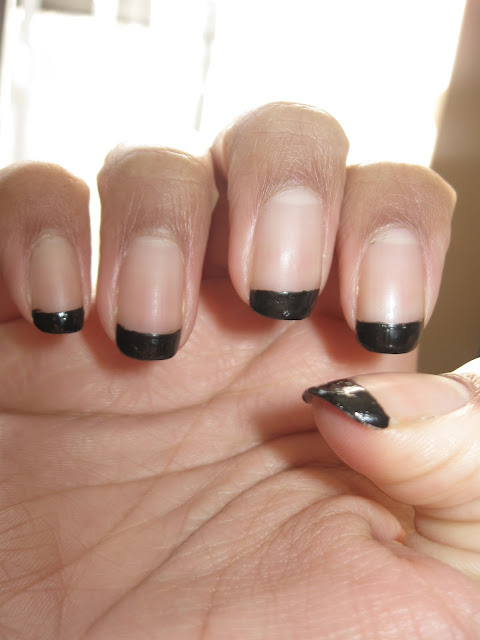 Black French tips over Matte Manicure
