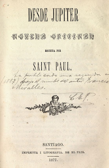 "Portada del libro ""Desde Júpiter"" de Saint Paul (Francisco Miralles)."