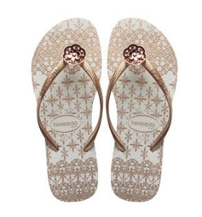 Havaianas, gold, flip flops, lace, sandals, slim