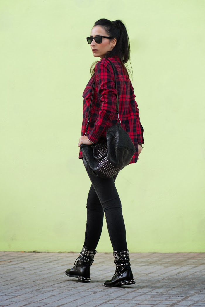 OUTFIT in PUNK STYLE with SPIKED BOOTS and TARTAN SHIRT