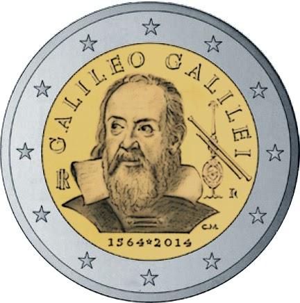 2 Euro Commemorative Coins Italy 2014, Galileo Galilei