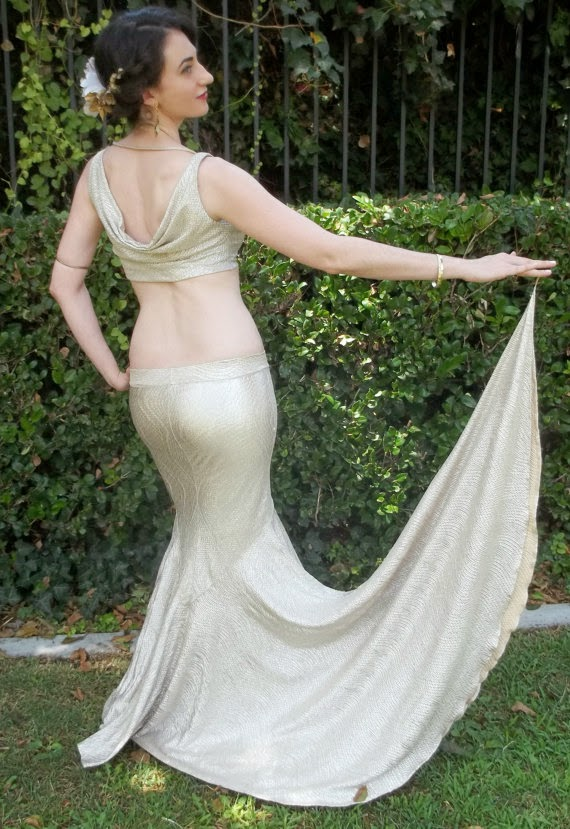 Aesthetic influence: Mermaid Skirt,  Erte Inspired with Side Train in Silver by Chovihani, Etsy.