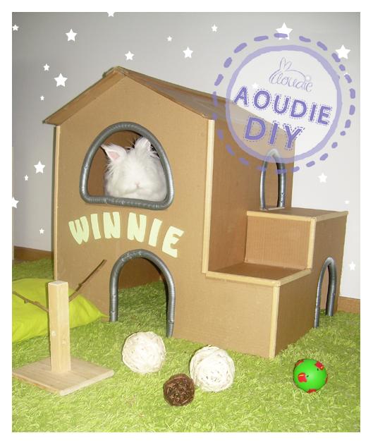 tuto de la cabane winnie pour lapin. Black Bedroom Furniture Sets. Home Design Ideas