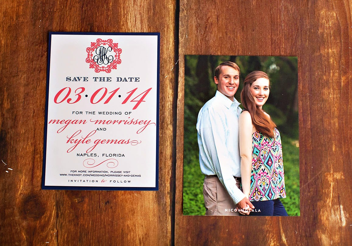Coral and navy save the date
