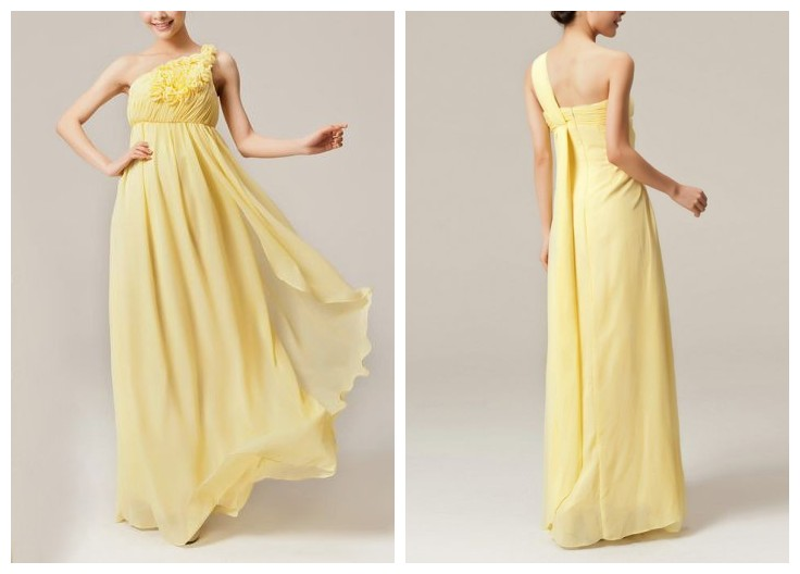 Yellow White Bridesmaid Dresses 85