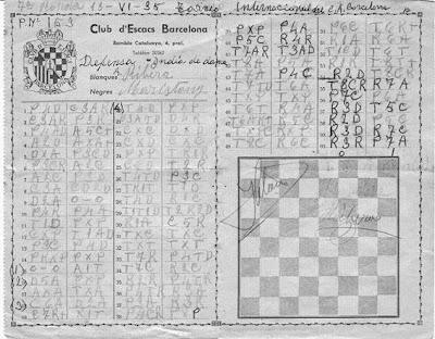 Planilla original de la partida Ribera-Maristany en el Torneo Internacional de Ajedrez Barcelona 1935