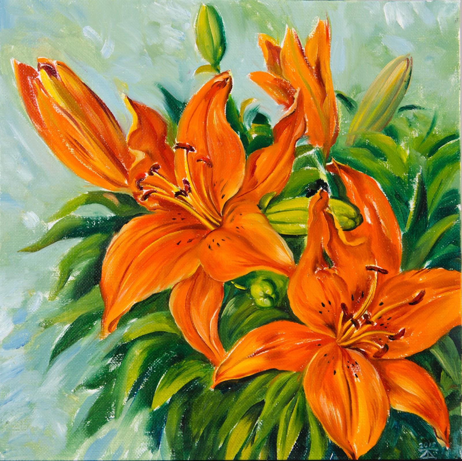 Artwind Original Artworks Oil Painting Orange Lily