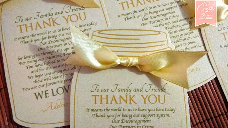 Romantic Mason Jar Wedding Thank You Card