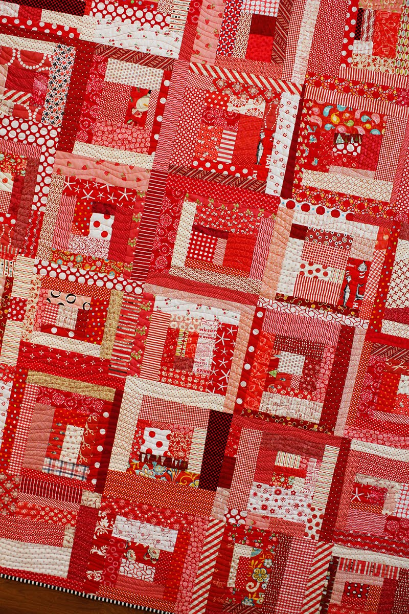 A bright corner wonky log cabin quilt