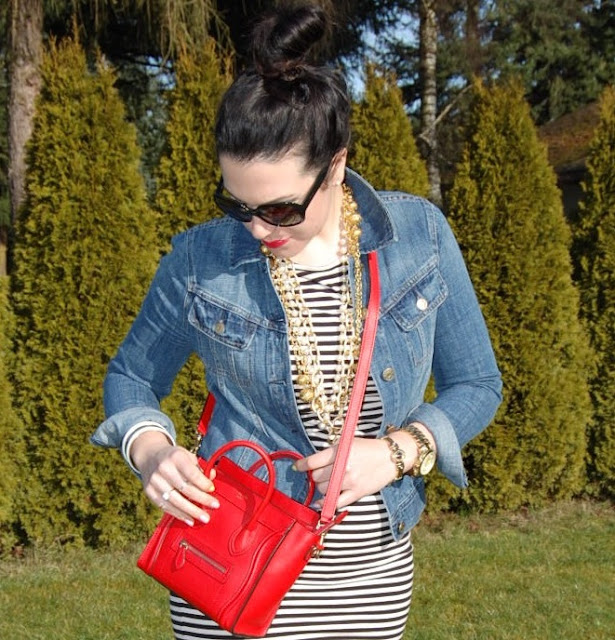Striped dress, J Crew jean jacket, red Celine Nano, red patent Tory Burch Flats