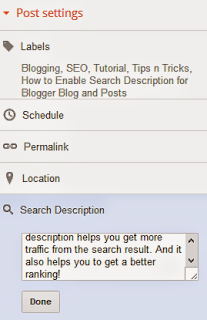 How to set search result for every post in blogger blog
