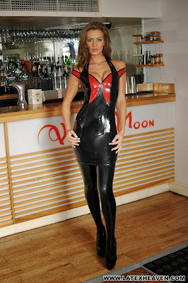 Sexy Emma Kate Dawson in Tight Shiny Black and Red Latex Dress