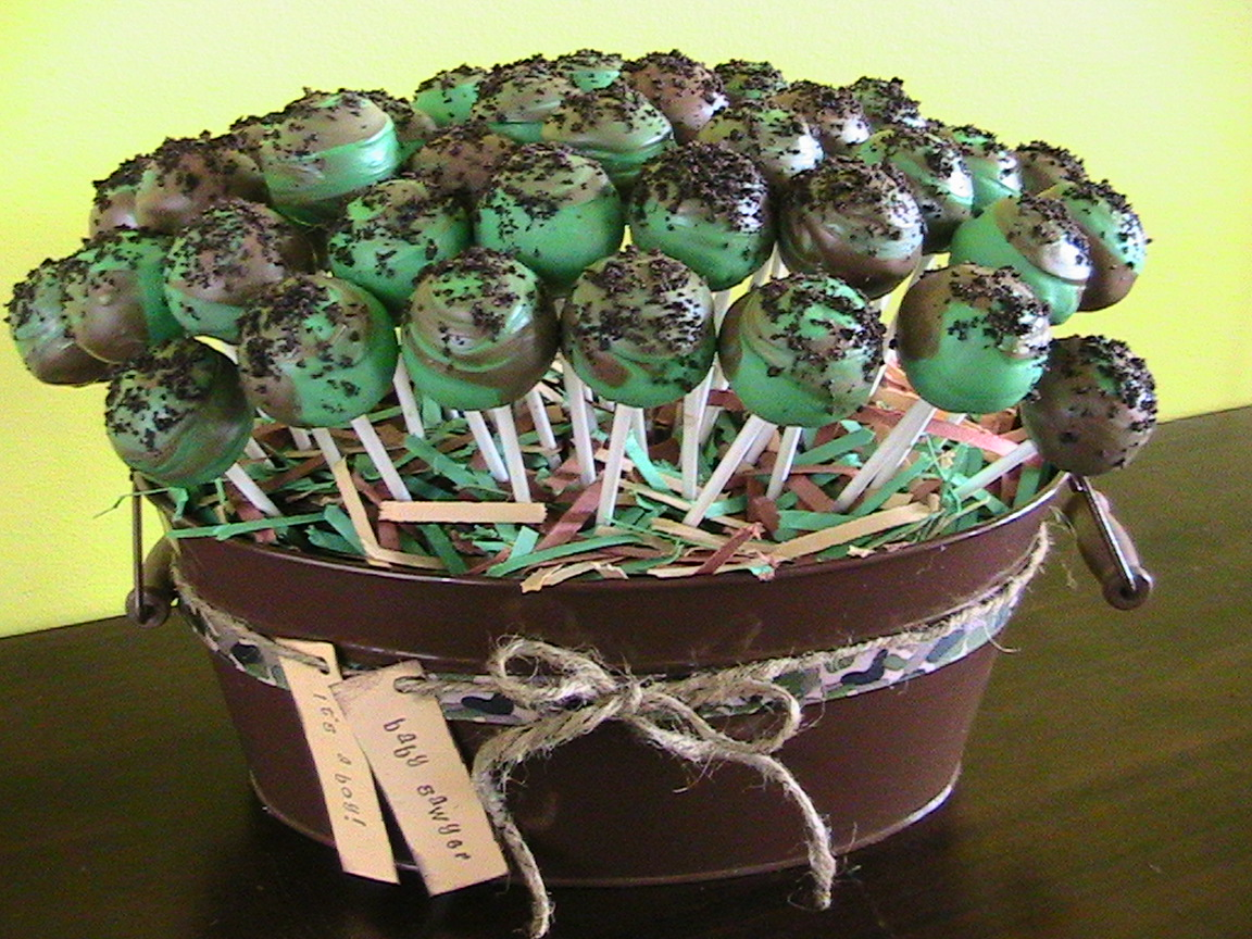 just right cake pops camo baby shower