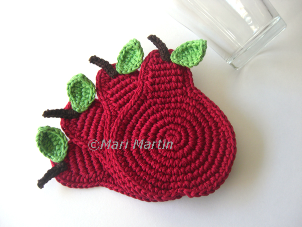Crochet Coasters Wine Pears