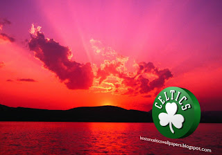 Desktop Wallpapers of Boston Celtics desktop Wallpapers Celtics Left Logo in classic Sunset background